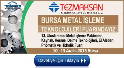 Bursa Metal İşleme Teknolojileri fuarı 2015 - 3-6 Aralık 2015