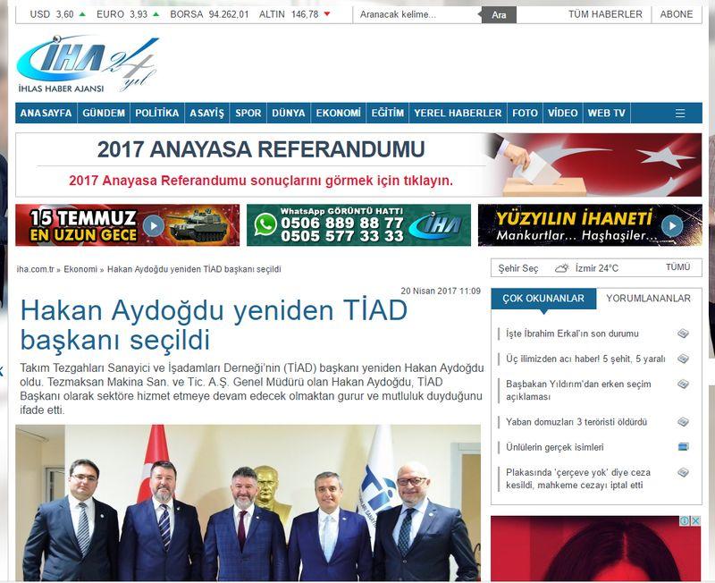 İHA - Hakan Aydoğdu yeniden TİAD başkanı seçildi