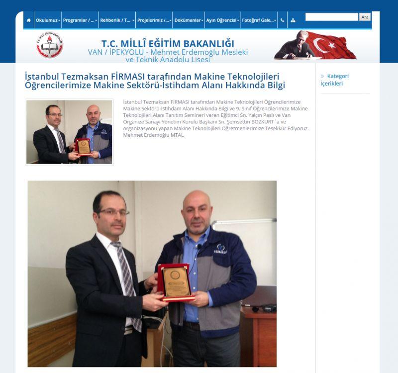 İstanbul Tezmaksan FİRMASI tarafından Makine Teknolojileri Öğrencilerimize Makine Sektörü-İstihdam Alanı Hakkında Bilgi