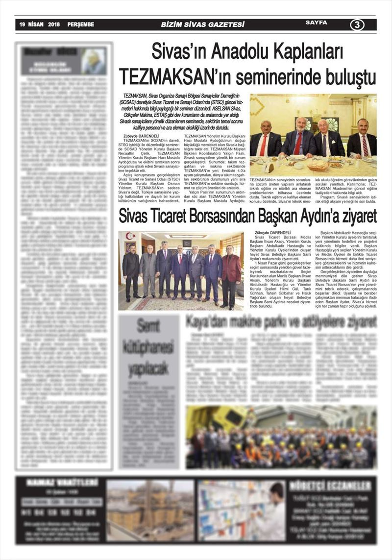 Sivasın Anadolu Kaplanları TEZMAKSANın seminerinde buluştu
