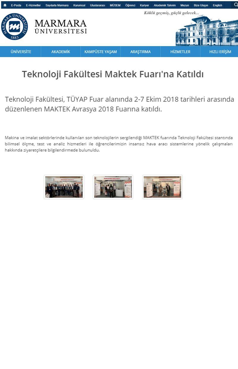 Teknoloji Fakültesi Maktek Fuarı'na Katıldı