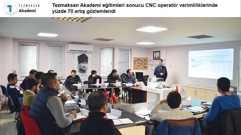 TEZMAKSAN Akademi eğitimleri sonrasında, CNC operatörlerinin verimliliklerinde yüzde 70 artış gözlemlendi