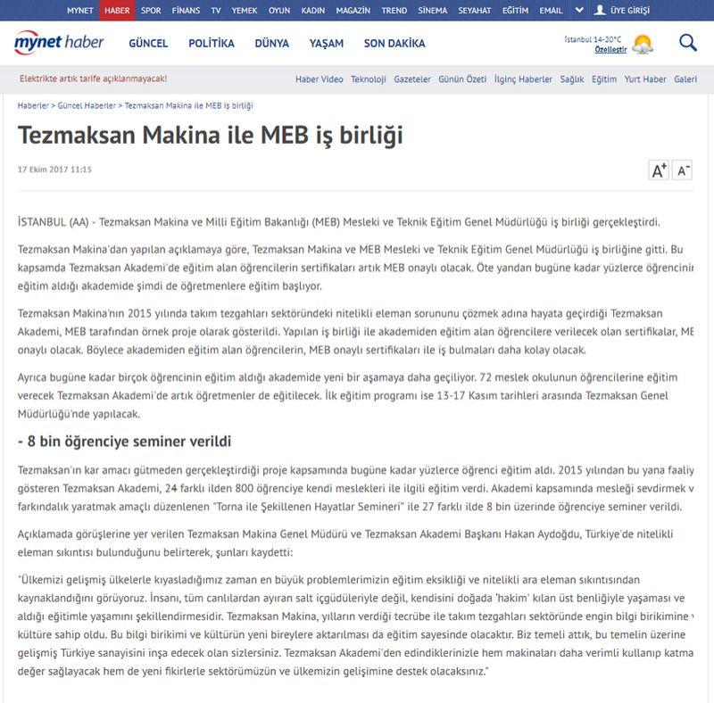 Tezmaksan Makina ile MEB iş birliği